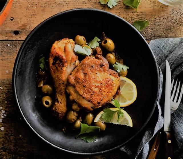 Pollo al limone con olive
