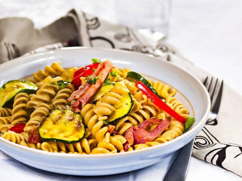 Fusilli con Pancetta e Zucchine