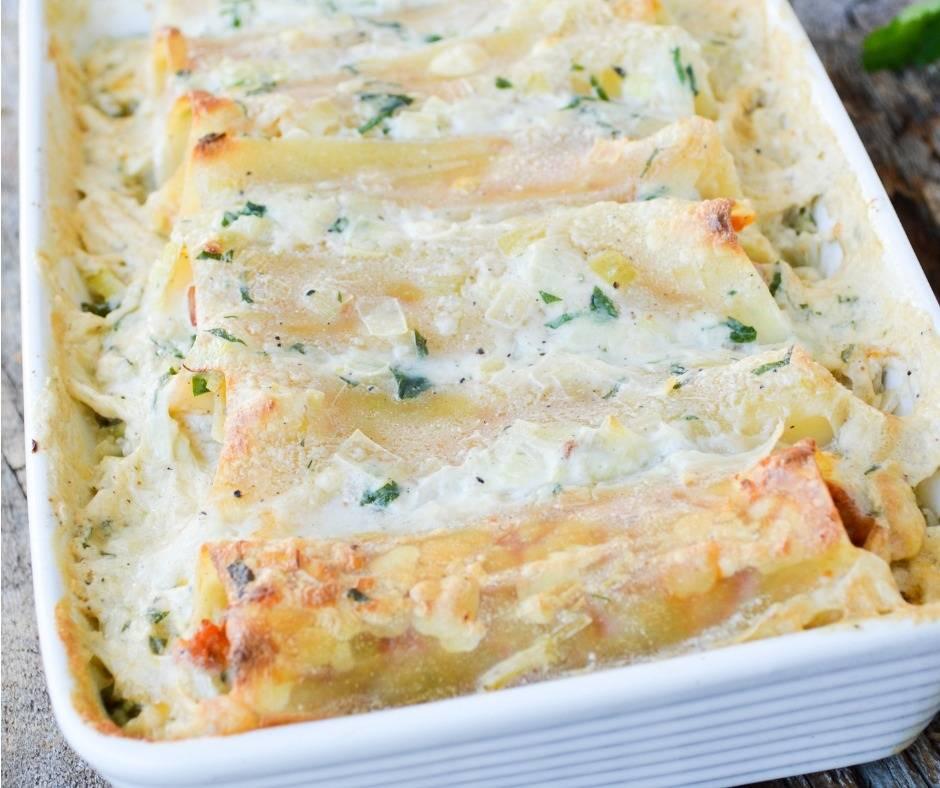Cannelloni in bianco con gorgonzola e verdure