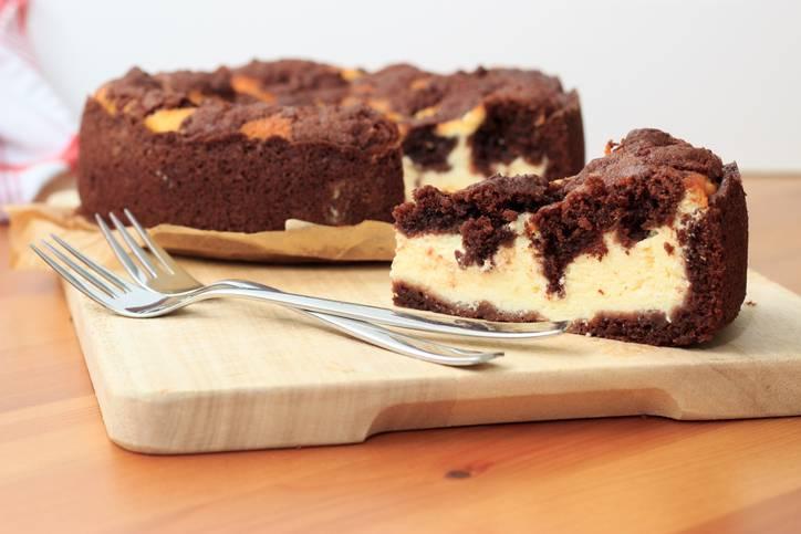 cheesecake con pasta frolla al cioccolato