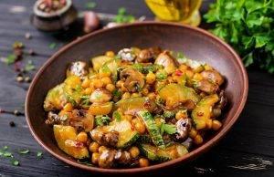 Zucchine e ceci, funghi e prezzemolo