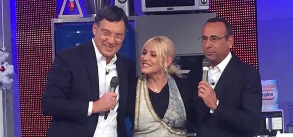 Antonella Clerici, Fabrizio Frizzi e Carlo Conti - Foto La Repubblica