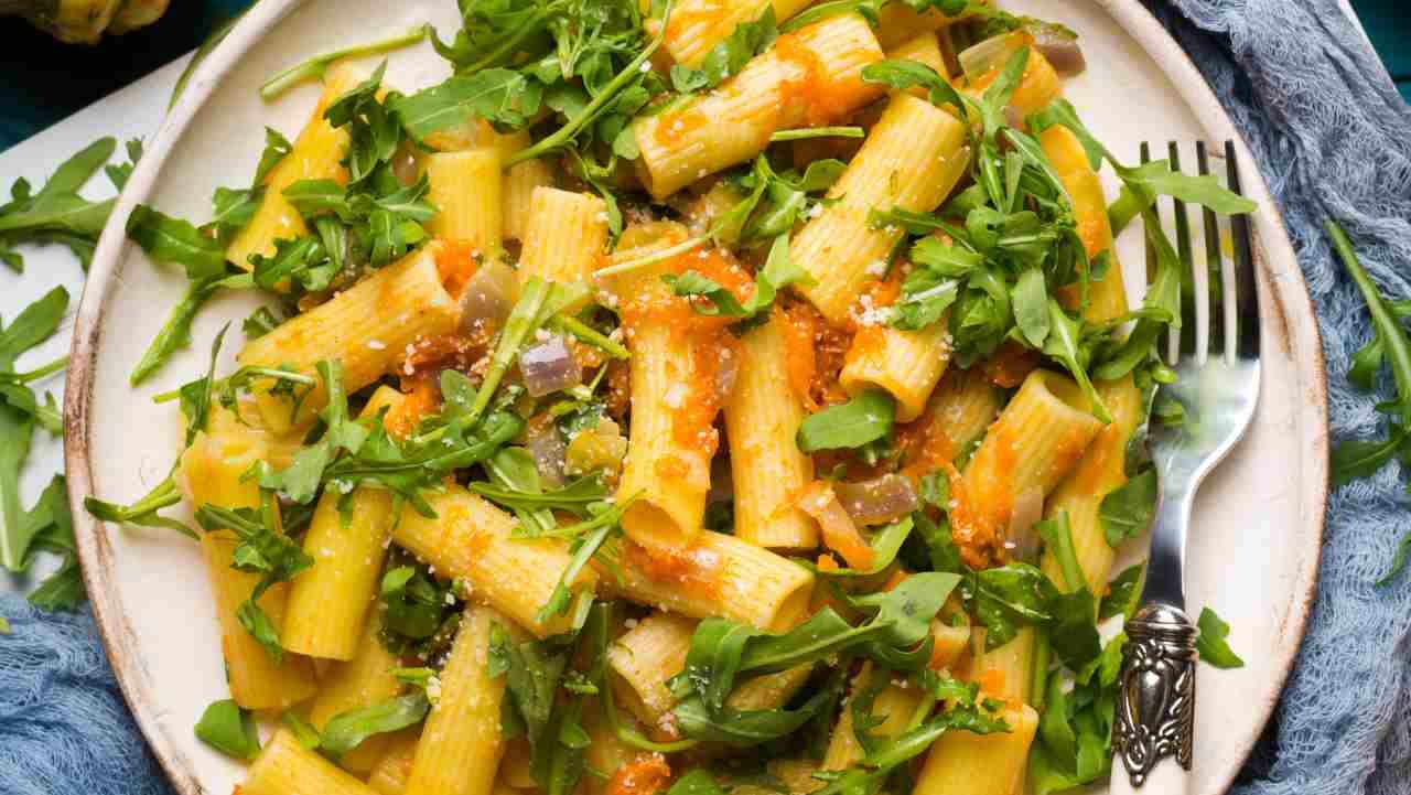 pasta con zucca pancetta e rucola - ricettasprint