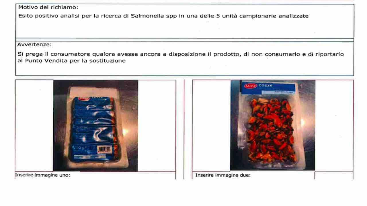 ritiro cozze per salmonella