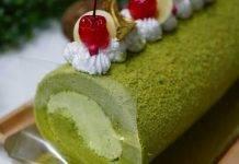 Rotolo al tè verde con crema chantilly