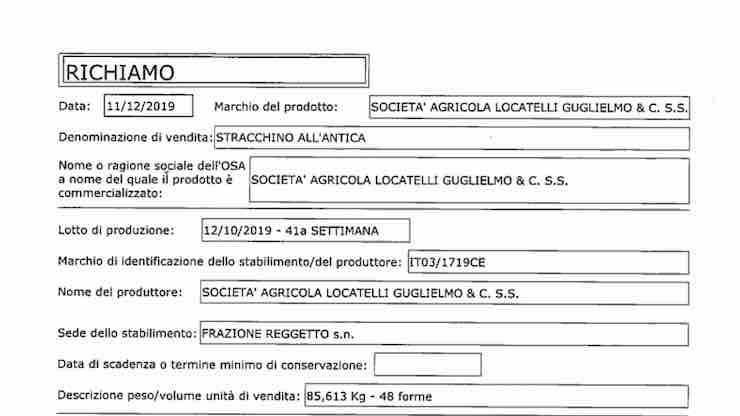 Escherichia coli nello stracchino: lotto ritirato da Ministero della Salute