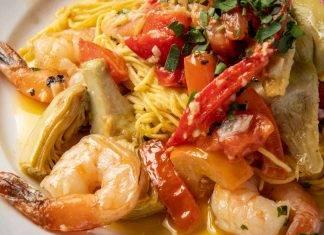 Spaghetti gamberi peperoni e carciofi - ricettasprint