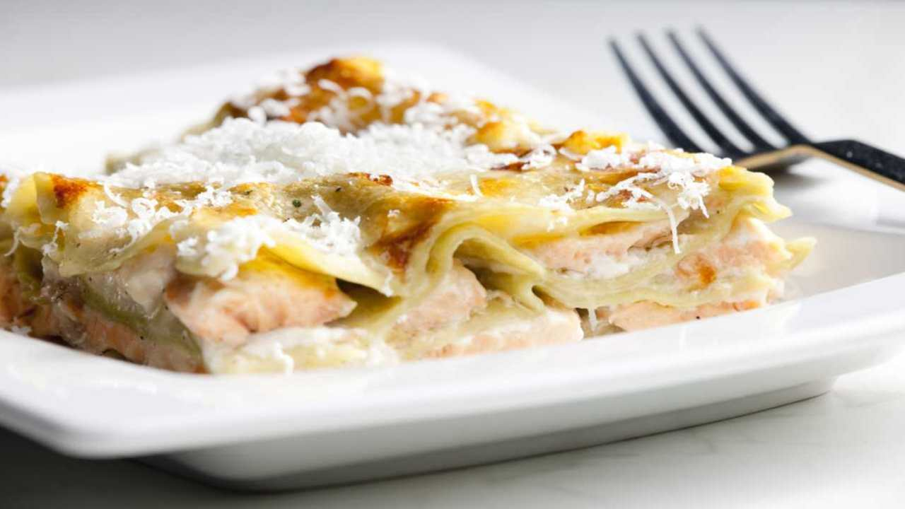 Lasagne salmone e gamberetti