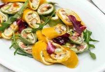 girelle di crepes con gamberetti e zucchine - ricettasprint