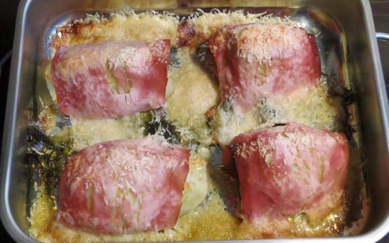 Finocchi al prosciutto al forno FOTO ricettasprint