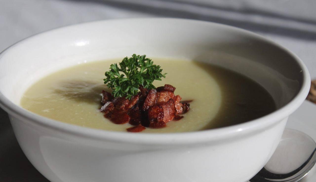Zuppa di patate porri e pancetta croccante ricettasprint