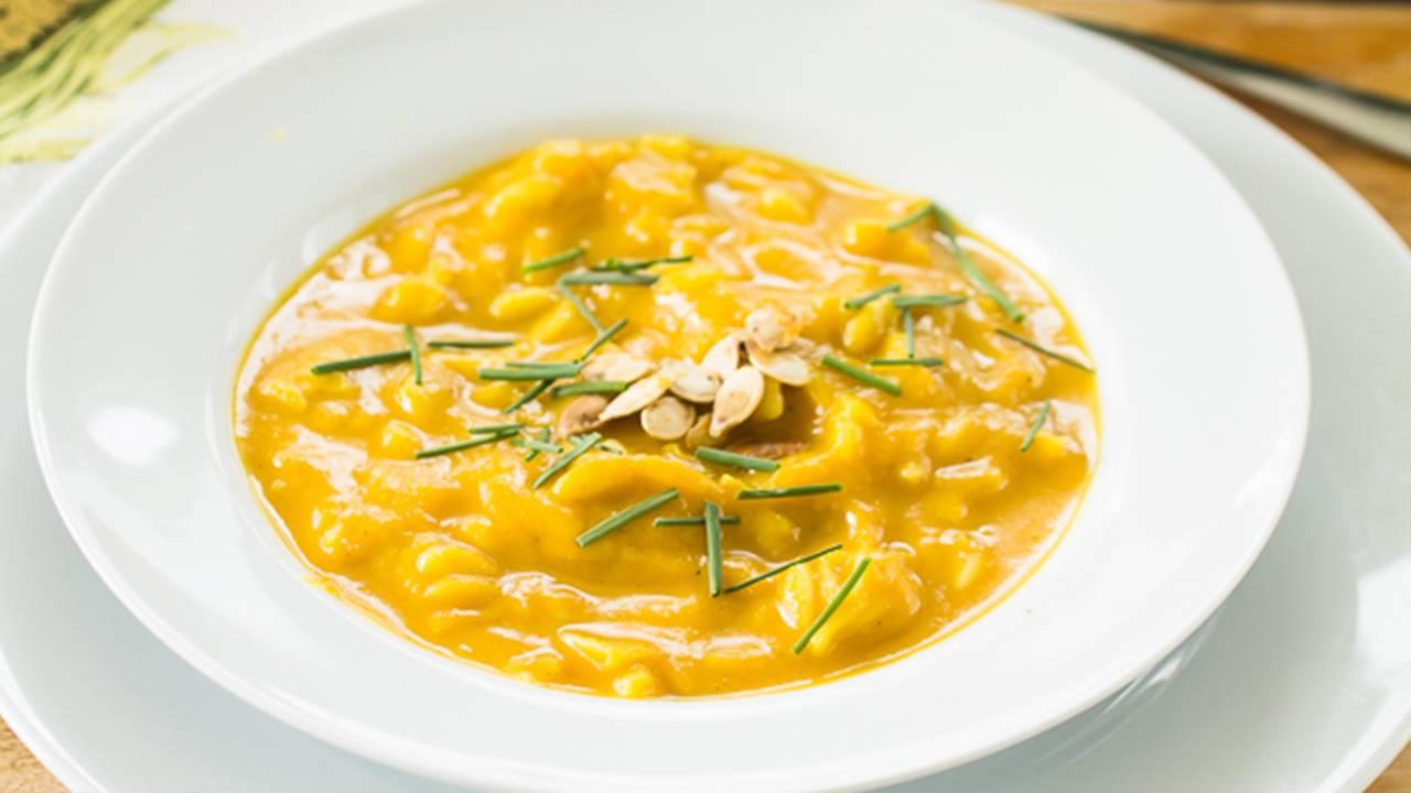 Zucca con pasta corta alla milanese