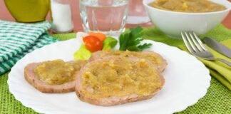 Rotolo di carne con crema di cipolle