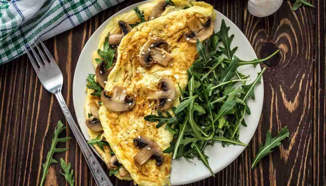 Omelette alla rucola e funghi ricetta
