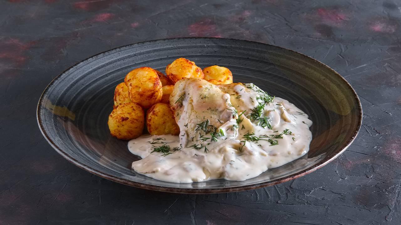 Pesce fritto con crema di patate