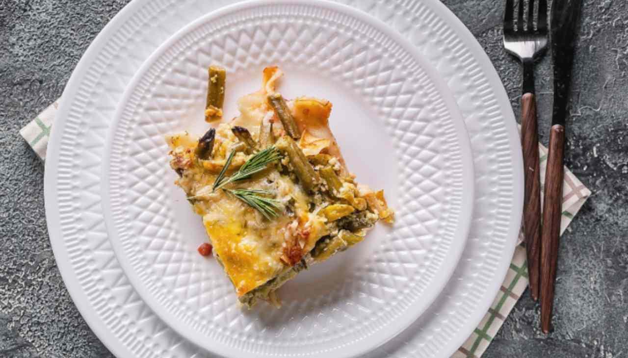 Lasagne al pesto e stracchino con patate e fagiolini ricetta