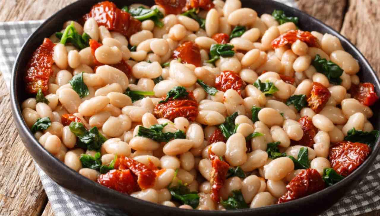 Fagioli e spinaci in padella ricetta