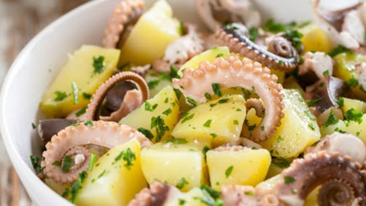 Polpo con basilico e patate