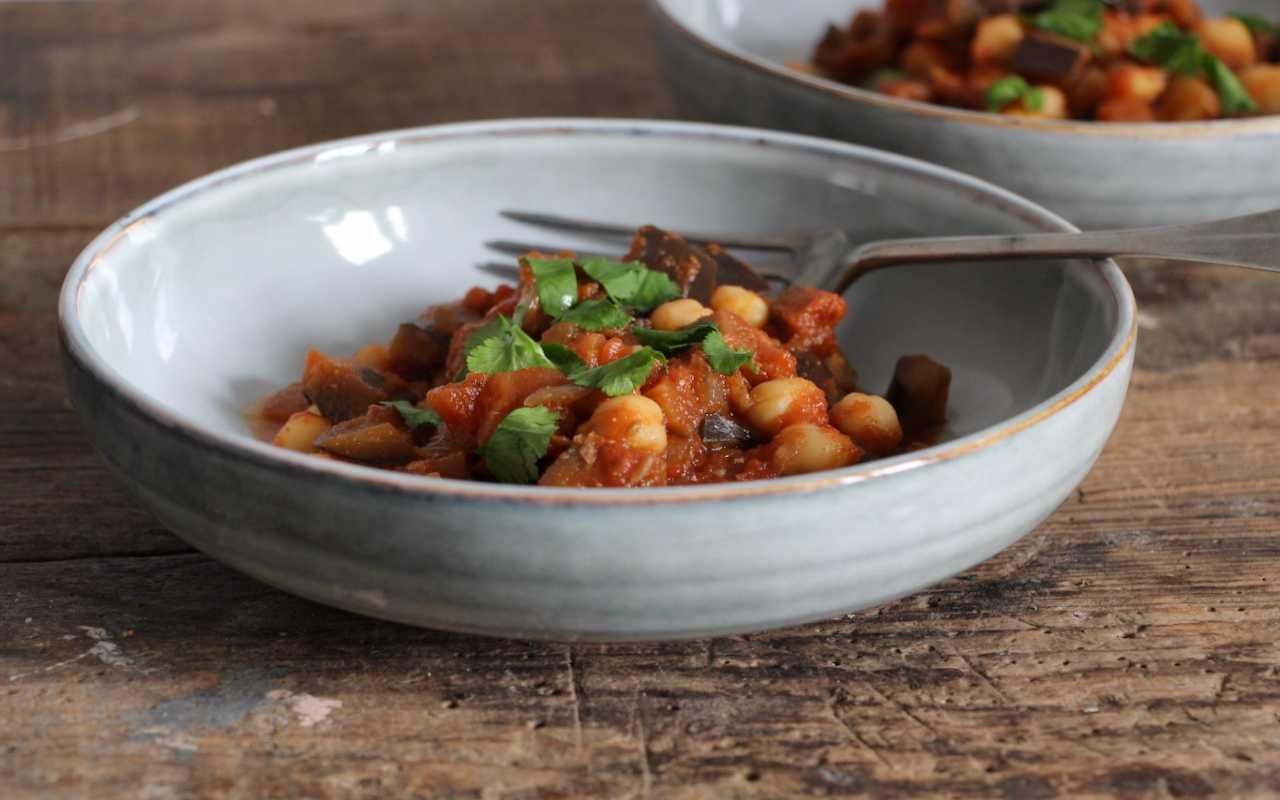 Ceci melanzane padella ricetta FOTO ricettasprint