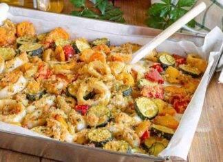 gamberi calamari gratinati verdure ricetta FOTO ricettasprint