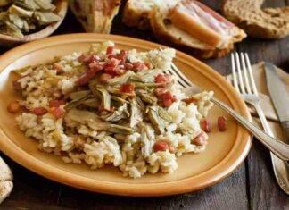 Risotto con carciofi pancetta e cubetti di mozzarella