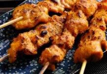 Spiedino di pollo e verdura fritto
