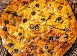Focaccia con olive formaggio e peperoni ricettasprint