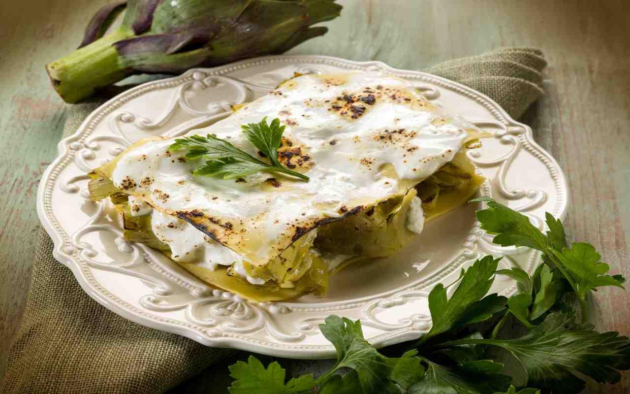 lasagne carciofi scamorza ricetta FOTO ricettsprint