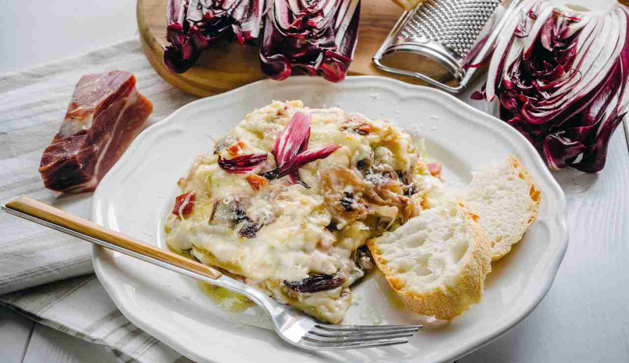 Lasagne radicchio e ragù bianco