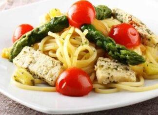 Spaghetti verdura e pesce