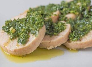 Polpettone di pesce di mare con salsina aromatica