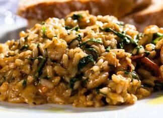 risotto con verdure e pancetta