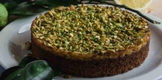Torta cannolo al pistacchio vanigliata