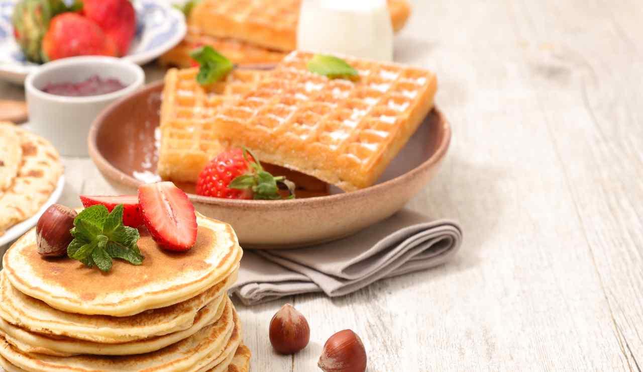 Waffles e pancake light senza burro