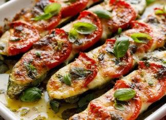uchien al forno con mozzarella e pomodoro