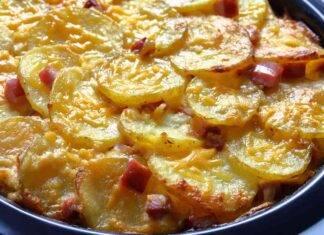 Patate al forno con parmigiano e prosciutto cotto