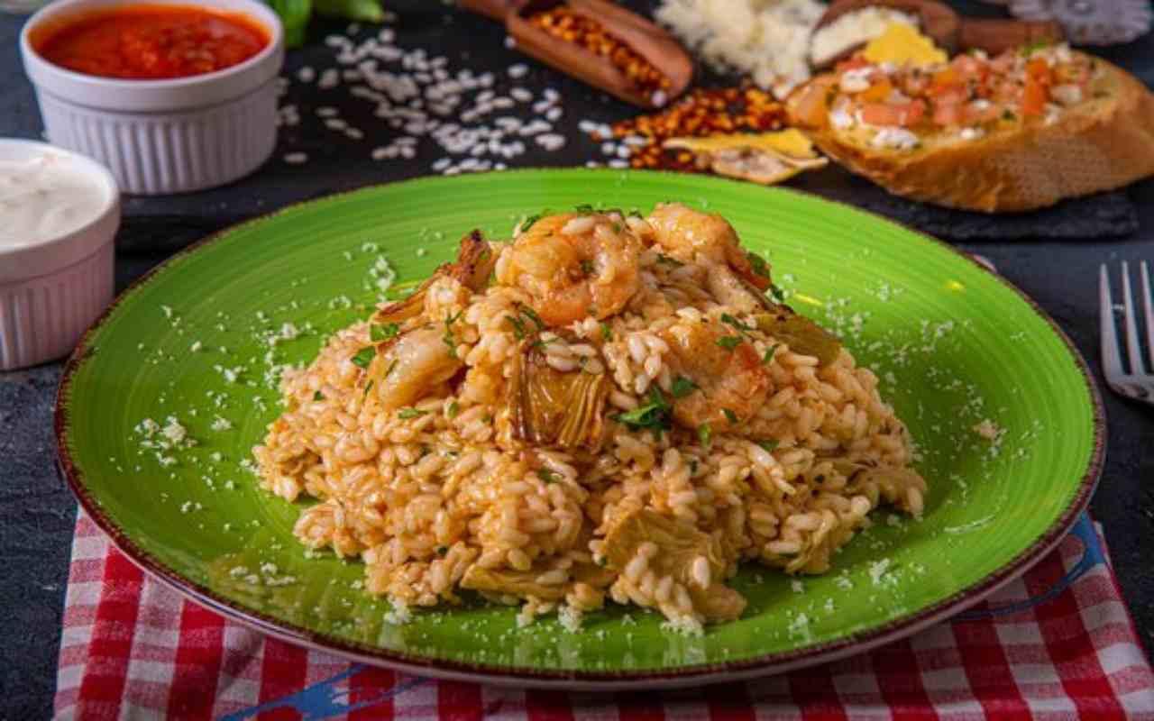 riso gamberi carciofi ricetta FOTO ricettasprint