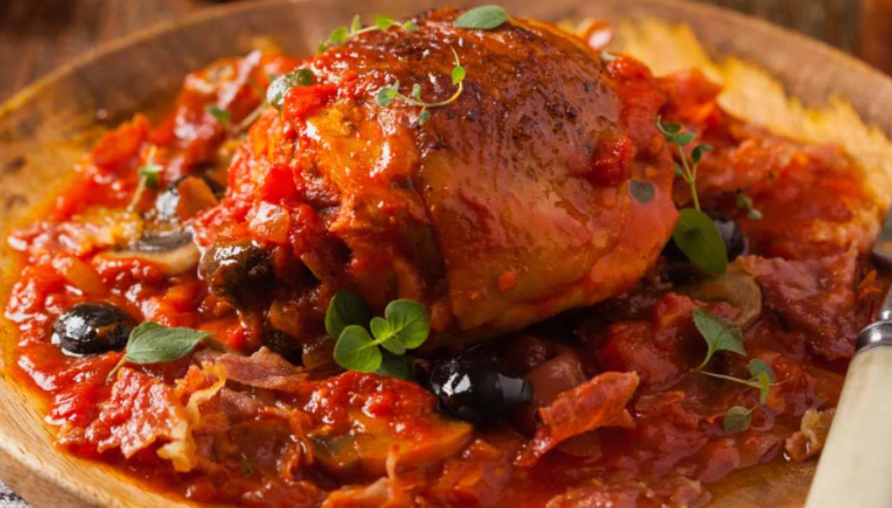 Sovracosce di pollo con pomodorini del Piennolo e olive taggiasche ricetta