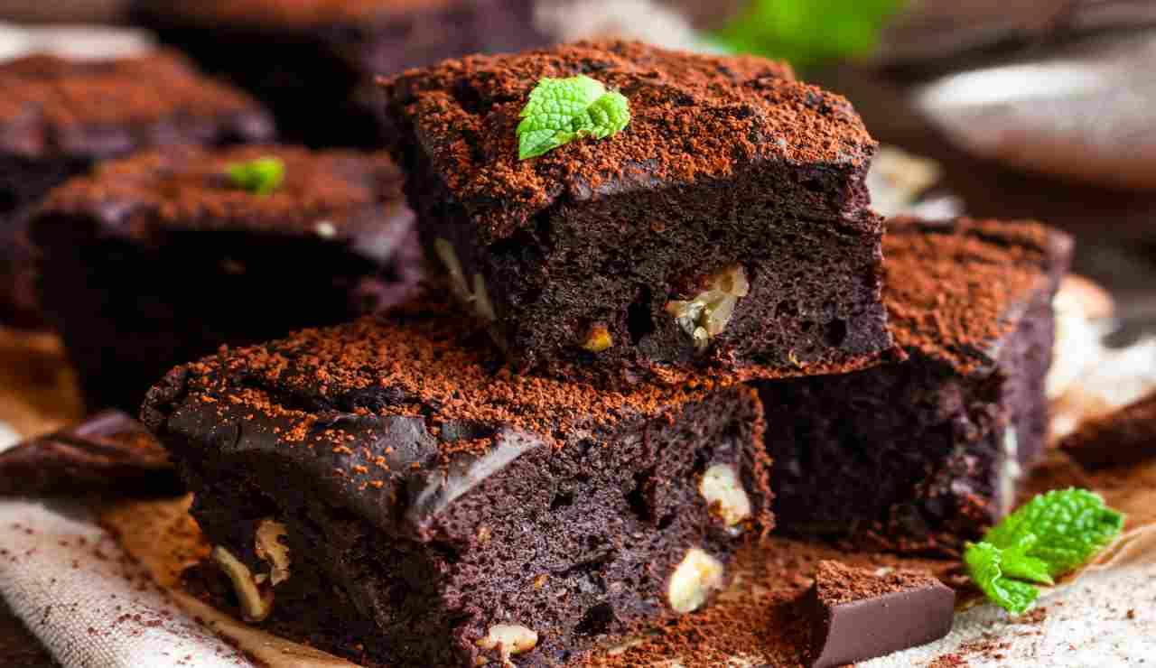 Brownies cioccolata noci e menta