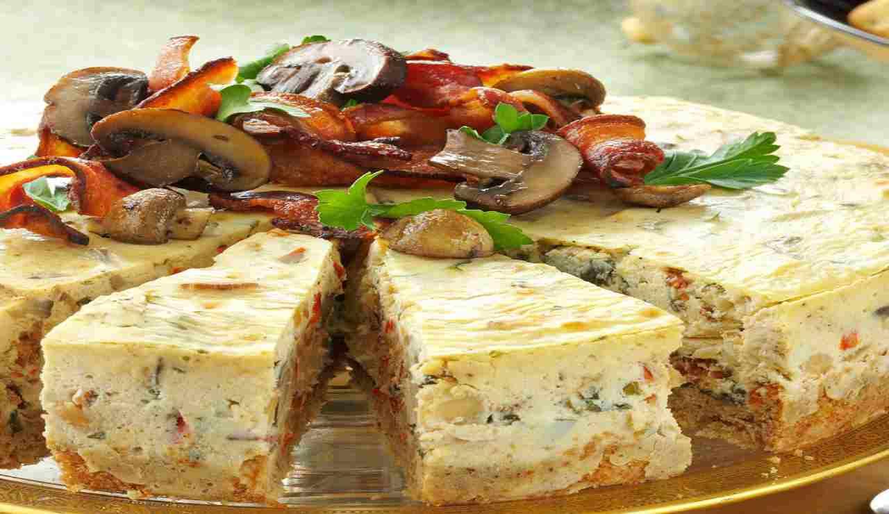 Cheesecake di funghi e bacon