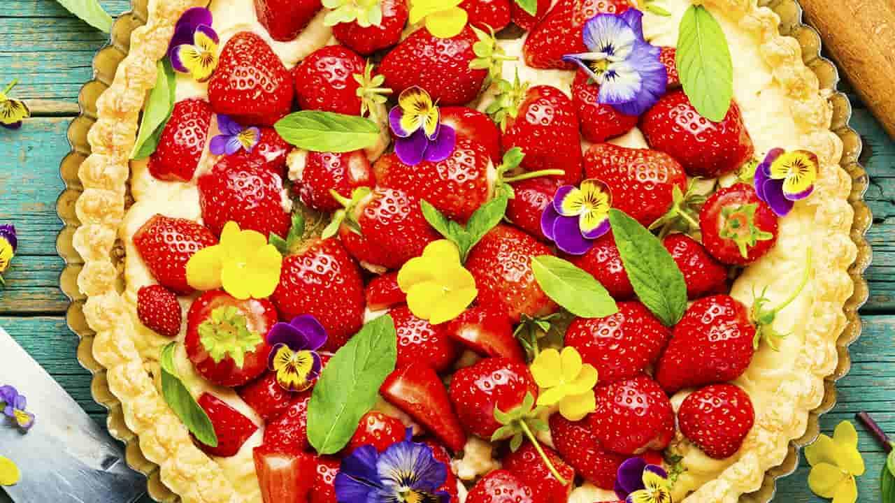 Torta di frutta e panna vegetale