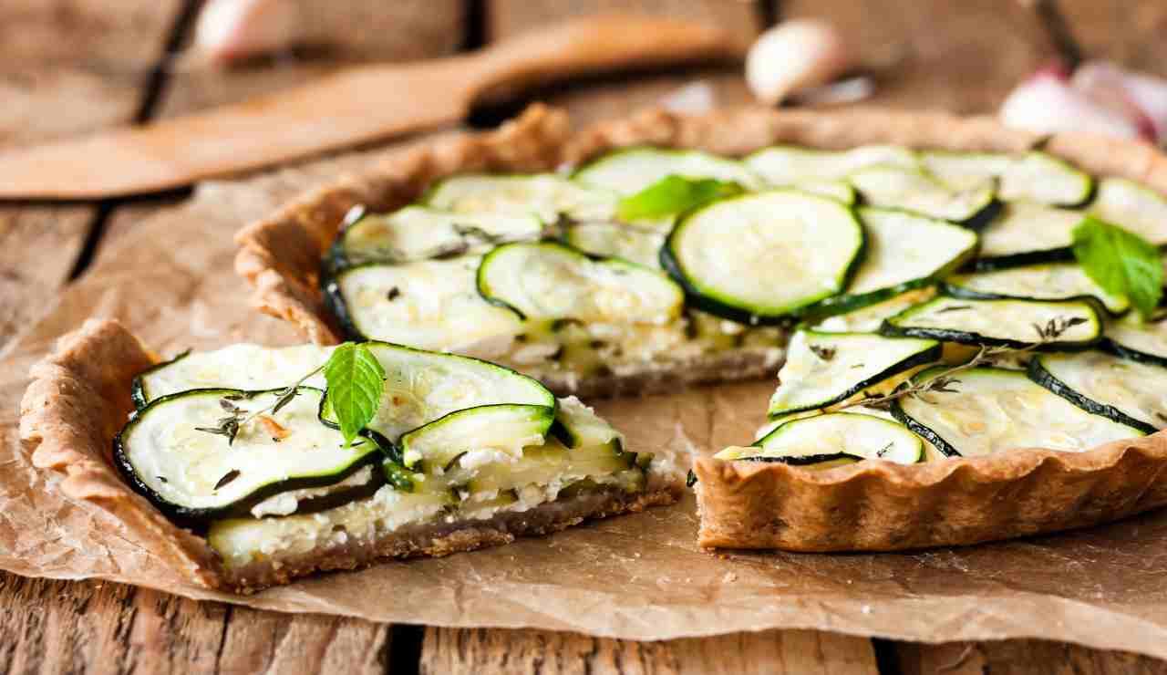 Crostata integrale con zucchine e ricotta