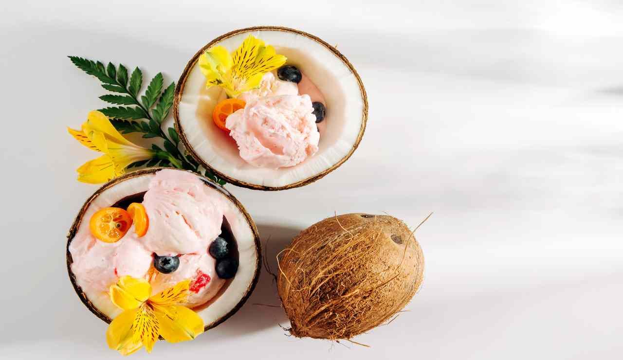 Gelato cocco e fragole