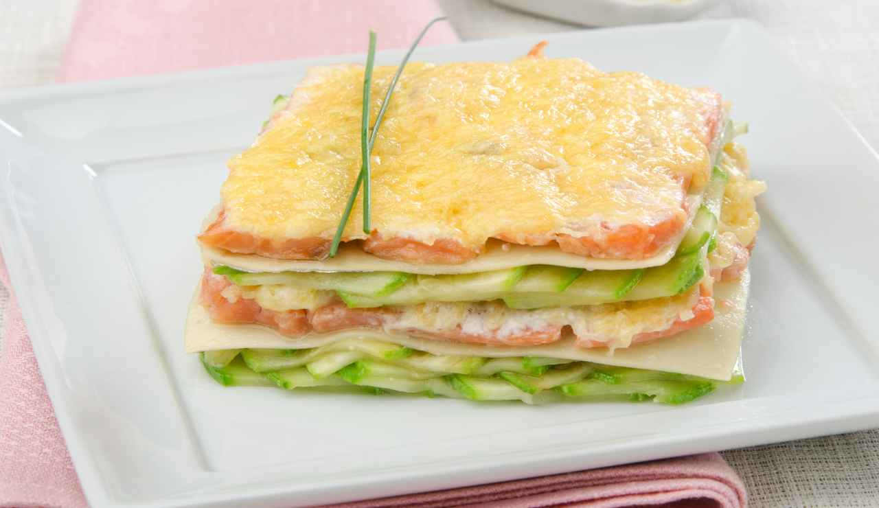 Lasagna fredda salmone e zucchine