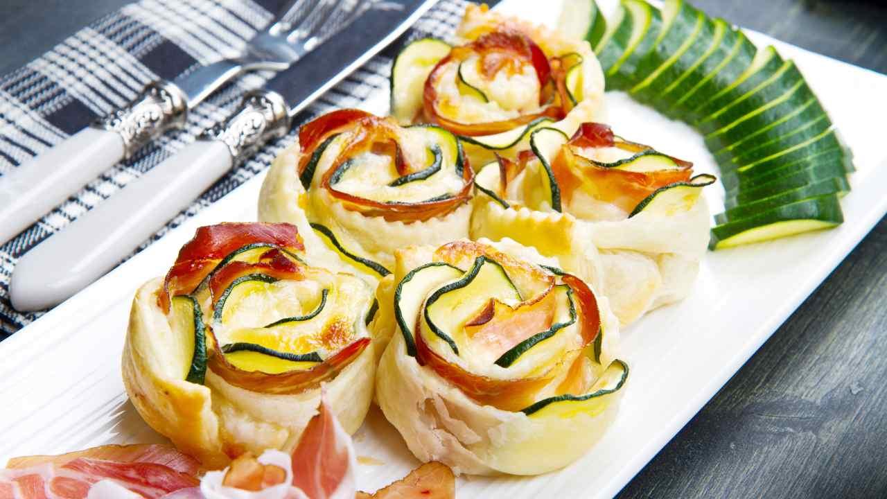 Rose di zucchine e bacon