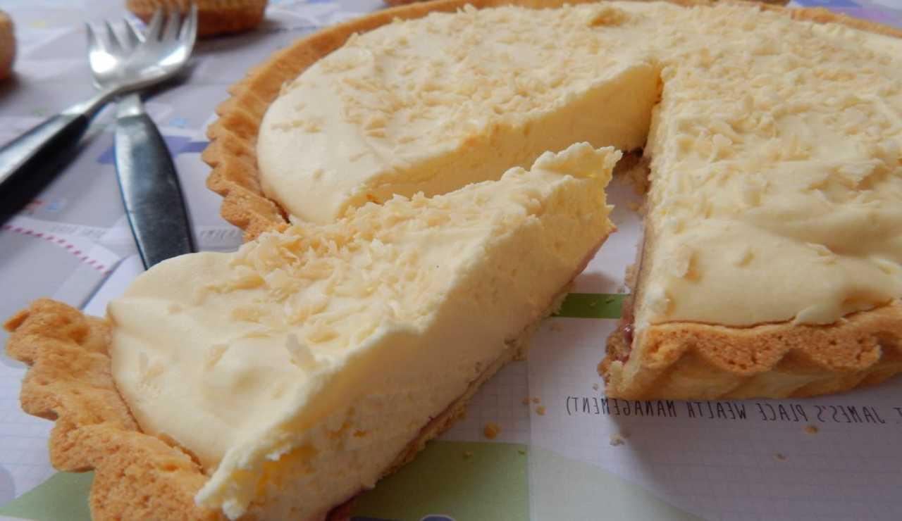 crostata cocco vaniglia e cioccolato bianco