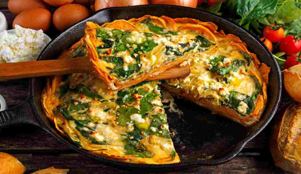 Crostata di patate spinaci e feta