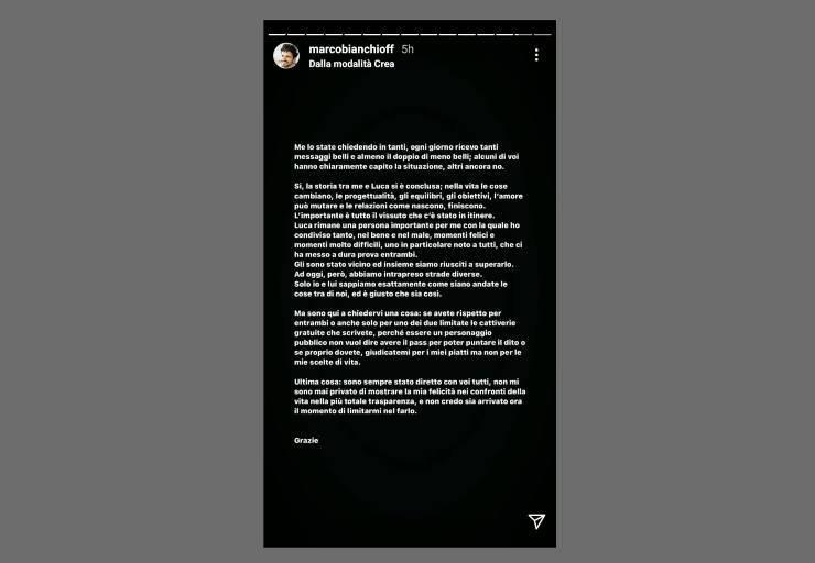 Marco Bianchi triste annuncio - RicettaSprint