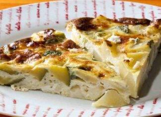 Pizza senza impasto patate besciamella e zucchine