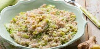 Risotto allo zenzero con zucchine porri e pistacchio